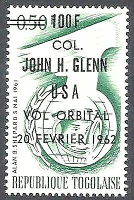 TOGO 1962 Space Shepard stamp with John Glenn overprint ~ MNH  MINT CONDITION