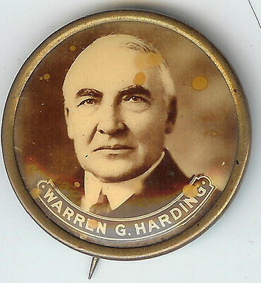 Beautiful Warren G. Harding Sepia Photo Pin!