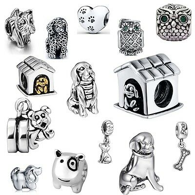 925 Silver Charms Puppy Dog Owl beads Fit European Sterling Silver Bracelets A