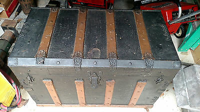 Vintage Nice Large Size Trunk Old Chest Black Brown Antique With Wheels