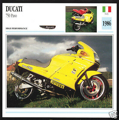 1986 Ducati 750cc Paso (748cc) Italy Race Motorcycle Photo Spec Sheet Info Card