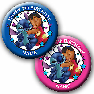 Personalised Lilo And Stitch Birthday Badge/magnets/mirrors