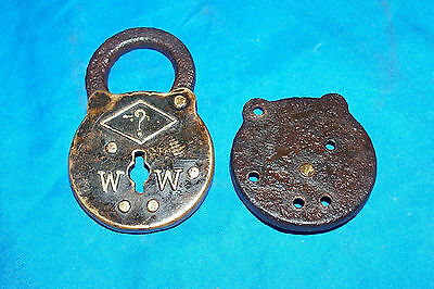 Antique ? WW Lock Old Vintage Padlock Door Gate Hasp Collectors W W Collectible