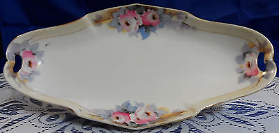 NIPPON HAND PAINTED FOOTED CELERY or CANDY DISH w/ FLOWER DESIGN & GOLD TRIM