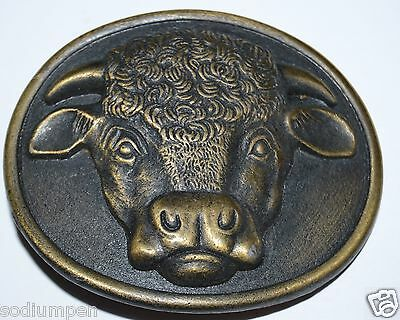 WOW Nice 1975 Vintage Hereford Cows Cocktail Myers Suzio Belt Buckle RARE