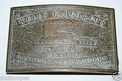 Vintage Aged Wells Fargo & Co Bankers & Forwarders Solid Brass Belt Buckle Rare