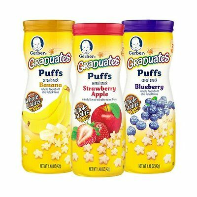 Gerber Graduates Puffs Cereal Snack, Variety Pack, Naturally Flavored with Other