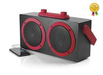 Intempo Retro Blaster Speakers Red Bluetooth Aux Mp3 Laptop Phone Tablet PC
