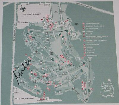 MIKE WEIR Signed MASTERS Augusta National Golf COURSE MAP Pga