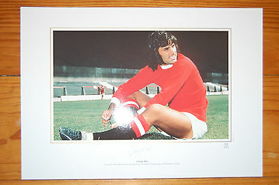 George Best Manchester United Signed Pixsportique Print 1970's Training