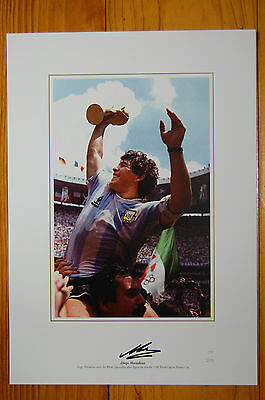 Diego Maradona Argentina Signed Intofootball Print 1986 World Cup Winner
