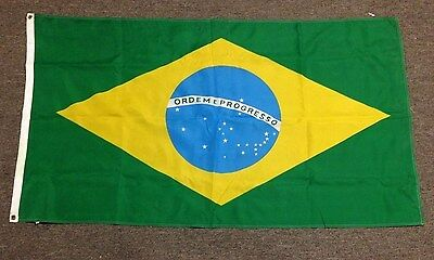BRAZIL BRAZILIAN FLAG WITH BRASS GROMMETS - 33 x 57 inches