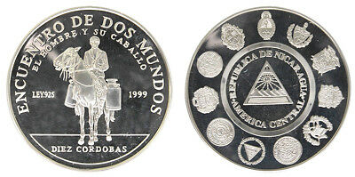 Nicaragua 10 Cordobas,27g .925 Silver Coin, 2002, KM # 95,Mint,Man and his Horse