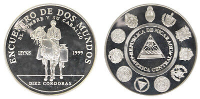 Nicaragua 10 Cordobas,27g .925 Silver Coin, 2002, KM#95, Mint, Man and his Horse