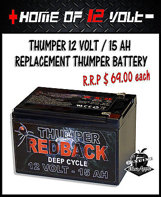 Thumper Battery Pack replacement REDBACK cell 12 volt / 15 AH AGM **ORIGINAL**