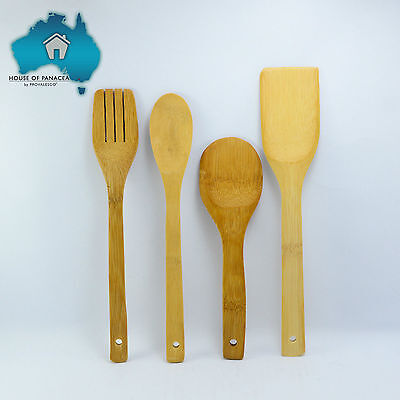4pc Bamboo Kitchen Utensil Set Natural Wooden Spoon Spatula Turner Fork