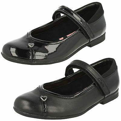 Girls Clarks Movello Lo Inf & Jnr Black Leather Or Patent School Shoes