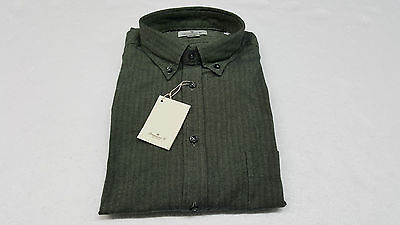 BRANCACCIO men's shirts herringbone green 100% cotone flannel