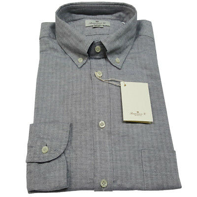 BRANCACCIO men's shirts herringbone grey 100% cotone flannel