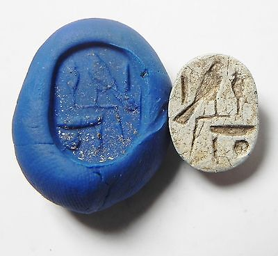 Zurqieh -Af341- Ancient Egypt , New Kingdom Stone Scarab. 1400 B.c