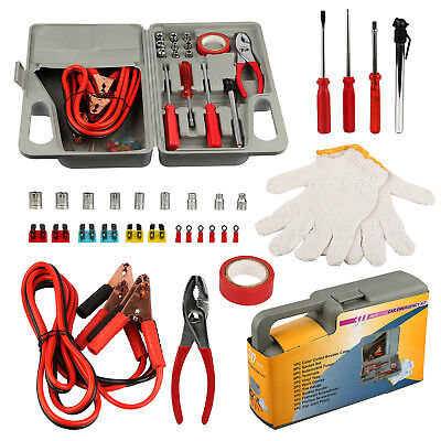 29 Pieces Emergency Roadside Car Tool Kit Jumper Drivers Cables Gloves Socket