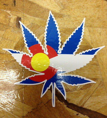 CO Colorado Flag Weed Pot Leaf Cannabis Die Cut Sticker decal
