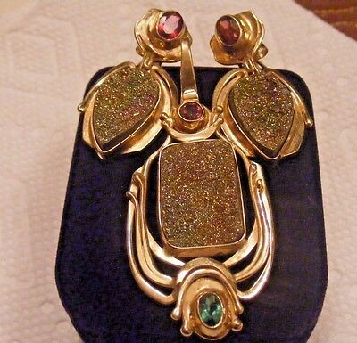 Vtg.14k Yellow Gold Rainbow Druzy Earrings and Pendant set