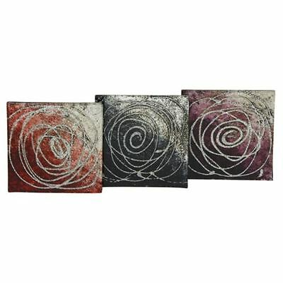 Set of 4 Square Glass Coasters Contemporary Sparkle Rose Black Purple Red Silver