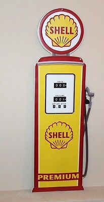 "Shell 32"" Gas Pump Motor Oil Die-Cut Embossed Metal Oil Texaco Mobil Petroleum"