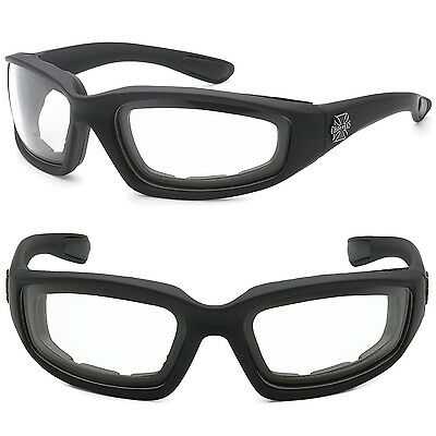 c80cf97b3e7 Choppers Wind Resistant Foam CLEAR Sunglasses Sports Motorcycle Riding  Glasses