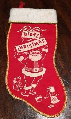 Vintage 1930's Stenciled Red Flannel Merry Christmas Stocking Santa,Present,Toys