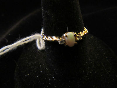 14K Braided Look Weave Yellow Gold Ring With Awesome Oval Opal