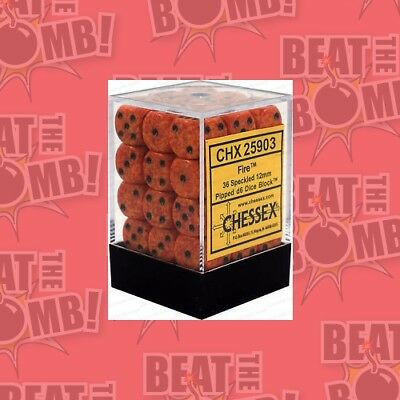 D6 Dice Speckled 12mm Fire (36 Dice In Display)  - BRAND NEW