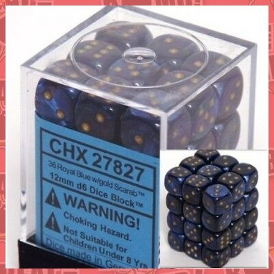 D6 Dice Scarab 12mm Royal Blue/gold (36 Dice In Display)  - BRAND NEW
