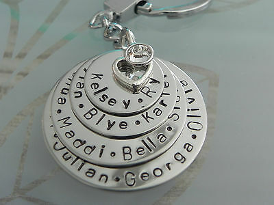 Personalised Hand Stamped Family Names 4 Stack Keyring Mothers Grandmothers Gift