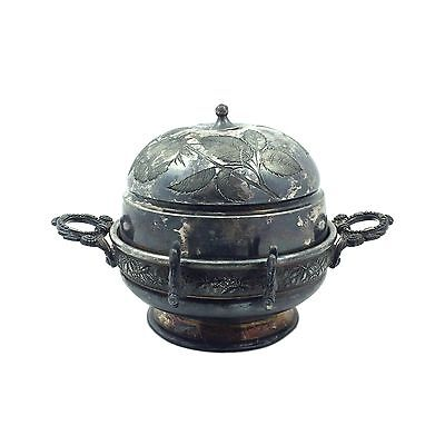 Meriden B Quadruple Silver Plated Butter Dome w/ Metal Insert & Etched Design
