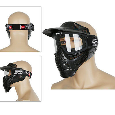 Black Airsoft Paintball Tactical Full Face Protection Skull Mask CS Goggle lens