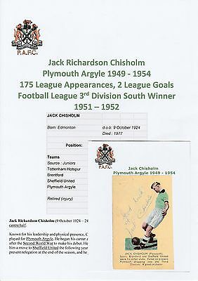 Jack Chisholm Plymouth Argyle 1949-1954 Rare Original Hand Signed Annual Cutting