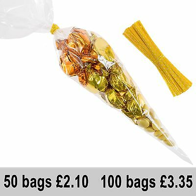 Large Clear Cello Cellophane Cone Bags Twist Ties Party Sweets Candy Yellow