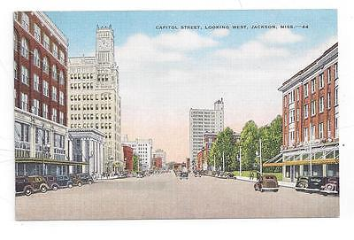 MS Jackson Mississippi antique post card Capitol Street Looking West