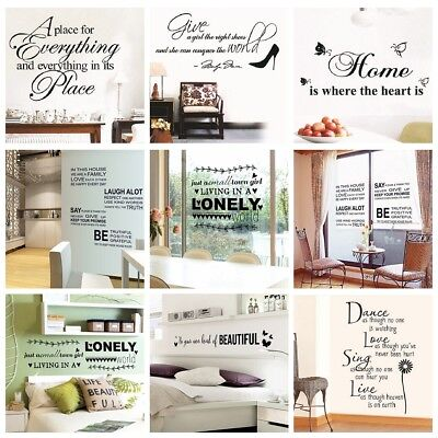 Words Phrases Art Vinyl Mural Quote Wall Sticker Home Room Wardrobe Decal Decor