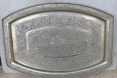 ISLAMIC VINTAGE ALPACA TRAY WITH COAT OF ARM OF SAUDI ARABIA ENGRAVING 1950s