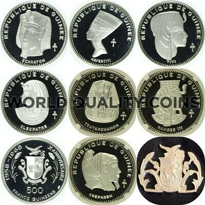 Guinea 1970 Set 7 Silver Coins 500 Francs Ancient Egyptian Pharaons NGC PF65-68