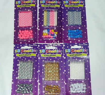 18 Cake Glitter Candles With Holders Party/birthday/wedding/party/anniversary