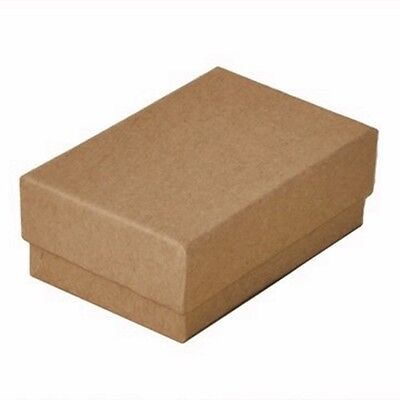 "100 Kraft Brown Cotton Filled Jewelry Packaging Gift Boxes 2 5/8"" x 1 1/2"" x 1"""