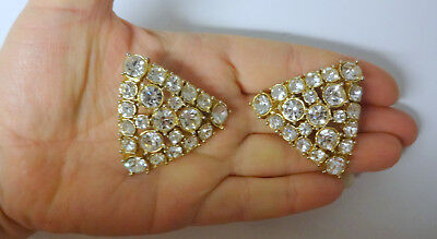 Vintage Geometric Triangle Haute Couture Clear Rhinestone Clip On Earrings