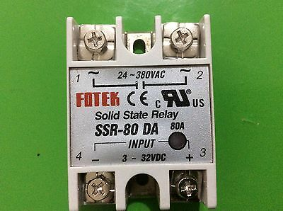 80 A SSR DA SOLID STATE RELAY 3-32V DC - 24-380V AC for Temperature Controller