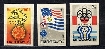 s5470) URUGUAY 1975 MNH** WC Football'78 - CM Calcio 3v IMPERF.