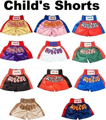 NEW Kids Childrens Muay Thai Boxing Shorts Kick Boxer Trunks 2XS-M Childs MMA