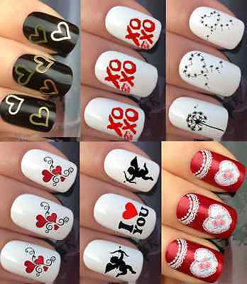 Valentines Day Nail Art Love U Heart Girlfriend Water Transfers Decals Stickers
